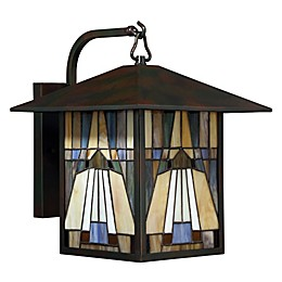 Quoizel Inglenook 1-Light Outdoor Wall Lantern in Valiant Bronze with Glass Shade