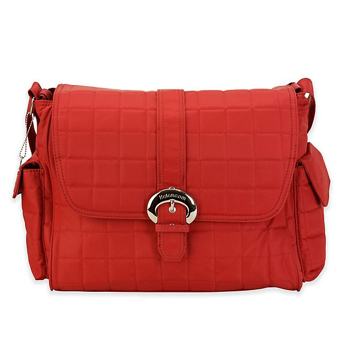 Alternate image 1 for Kalencom® Featherweight Quilted Buckle Diaper Bag in Rhubarb