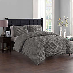 VCNY Home Lattice Embossed 2-Piece Twin/Twin XL Duvet Cover Set in Grey