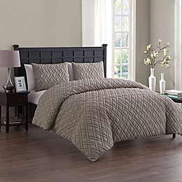 VCNY Home Lattice-Embossed 2-Piece Twin/Twin XL Duvet Cover Set in Taupe