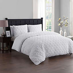 VCNY Home Lattice Embossed 3-Piece Duvet Cover Set