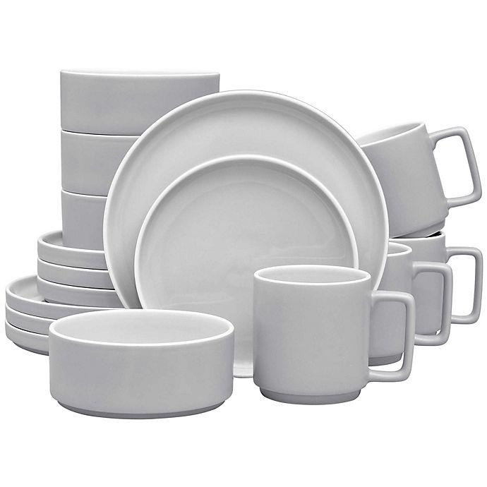 Alternate image 1 for Noritake® ColorTrio Stax 16-Piece Dinnerware Set in Slate