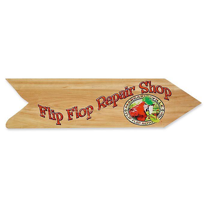 Alternate image 1 for Margaritaville® Flip Flop Repair Shop Directional Sign Outdoor Wall Art in Tan