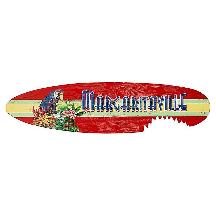 Alternate image 1 for Margaritaville® Shark Bite Surfboard 14-Inch x 55-Inch Wall Art in Red