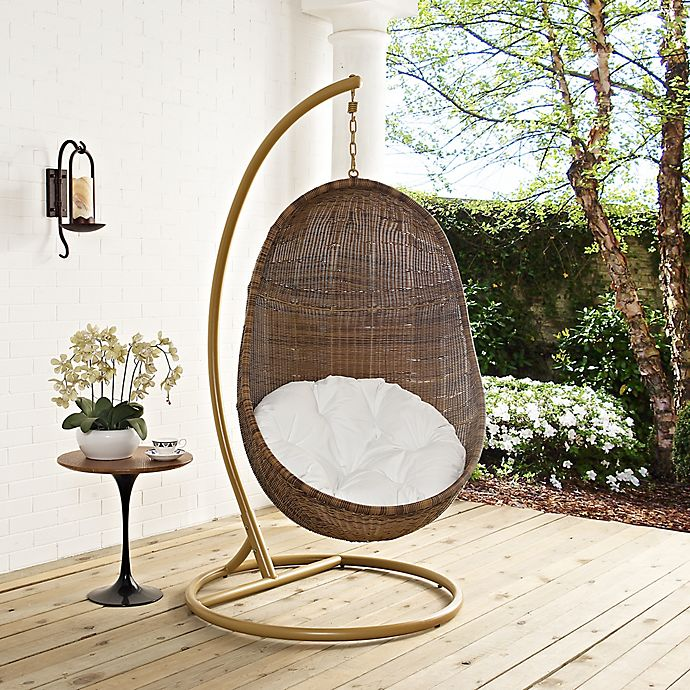 Modway Bean Patio Stand Alone Swing Chair In Coffee White