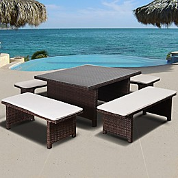 Atlantic Bellagio 5-Piece Low Outdoor Patio Dining Set in Brown