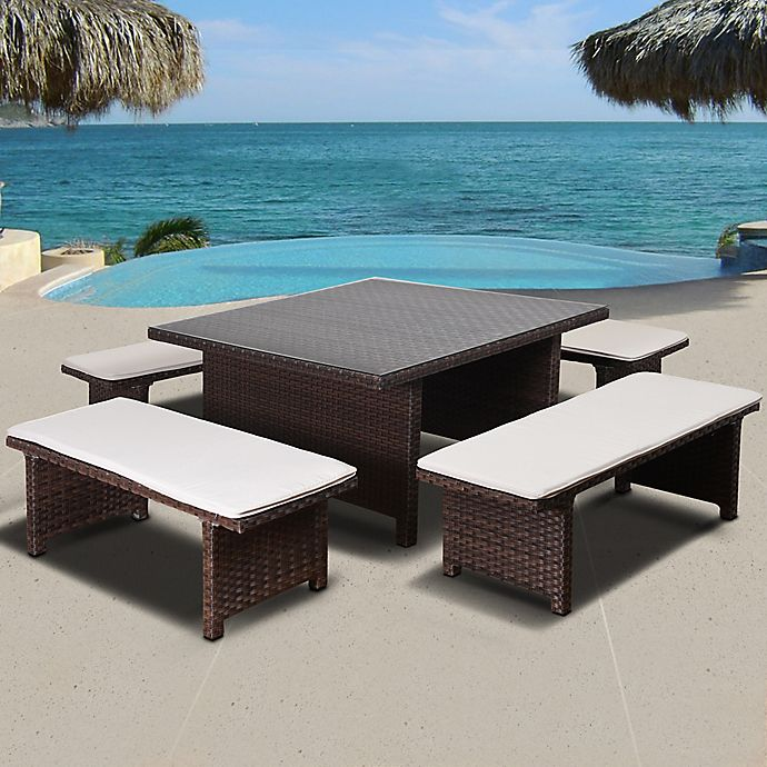 Alternate image 1 for Atlantic Bellagio 5-Piece Low Outdoor Patio Dining Set in Brown