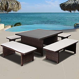 Atlantic Bellagio 5-Piece Low Outdoor Patio Dining Set in Brown