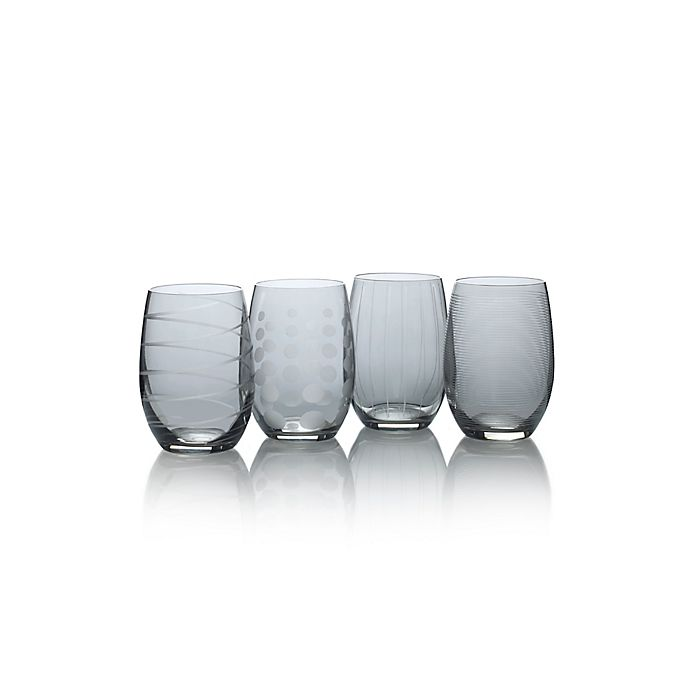 Alternate image 1 for Mikasa® Cheers 17 oz. Stemless Wine Glasses in Smoke (Set of 4)