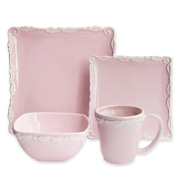 Alternate image 1 for American Atelier Bianca Wave 16-Piece Dinnerware Set in Pink