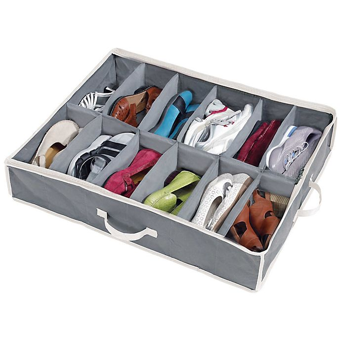 Grey mDesign Under-Bed Storage for Clothes and Shoes Space-Saving Clothes Storage Storage Box with 4 Compartments Pack of 2