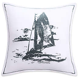 Coastal Life Nantucket Sailboat 16-Inch x 16-Inch Square Throw Pillow in Green