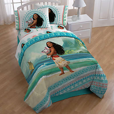 "Disney Moana ""The Wave"" 4-Piece Twin Comforter Set  in Aqua"