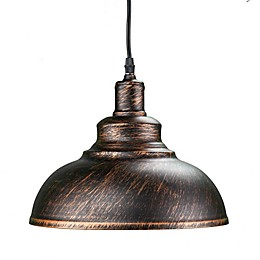 Southern Enterprises Morova Bell Pendant Lamp in Black/Copper