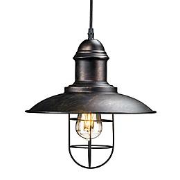 Southern Enterprises Tesino Cage Pendant Lamp in Black