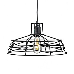 Southern Enterprises Lambro Ceiling Mount Cage Pendant Lamp in Black