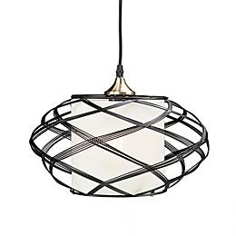 Southern Enterprises Alento Ceiling Mount Cage Pendant Lamp in Black