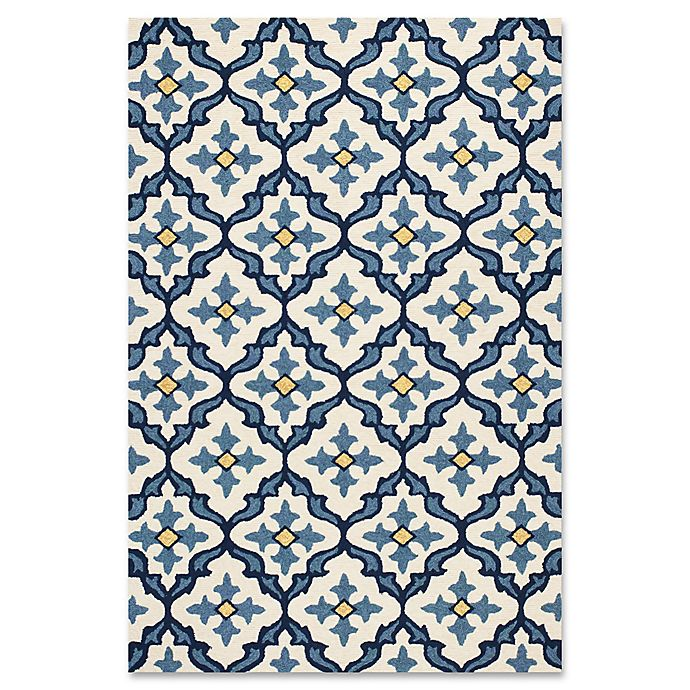 Alternate image 1 for KAS Harbor Mosaic 2-Foot x 3-Foot Indoor/Outdoor Accent Rug in Ivory/Blue