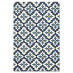 KAS Harbor Mosaic 7-Foot 6-Inch x 9-Foot 6-Inch Indoor/Outdoor Area Rug in Ivory/Blue