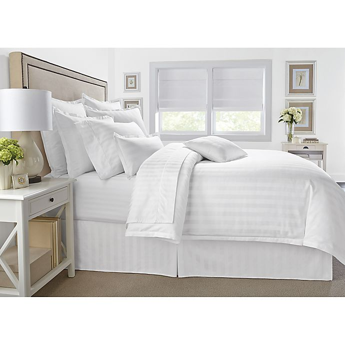 Alternate image 1 for Wamsutta® 500-Thread-Count PimaCott® Damask Stripe Twin Duvet Cover Set in White