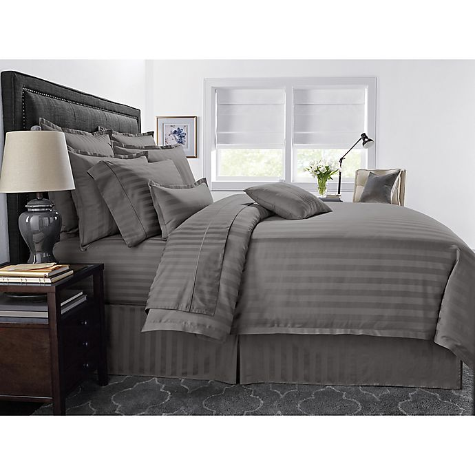 Alternate image 1 for Wamsutta® 500-Thread-Count PimaCott® Damask Stripe Twin Duvet Cover Set in Grey