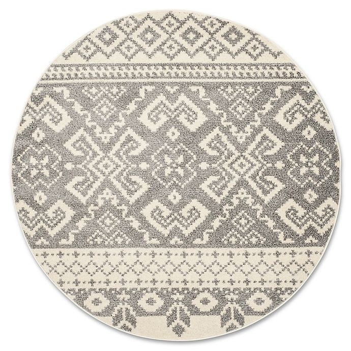 Alternate image 1 for Safavieh Adirondack 4-Foot Round Accent Rug in Ivory/Silver