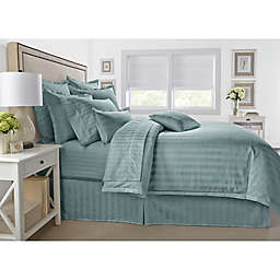 Wamsutta® 500-Thread-Count PimaCott® Damask Stripe Twin Duvet Cover Set in Aqua