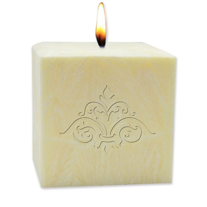 Alternate image 1 for Carved Solutions Eco-Luxury Citrus Escape 4-Inch Palm Wax Damask Pillar Candle in Champagne