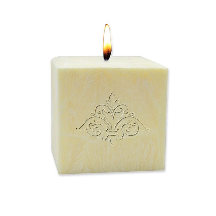 Alternate image 1 for Carved Solutions Eco-Luxury Pure Aromatherapy 3-Inch Palm Wax Damask Pillar Candle in Champagne