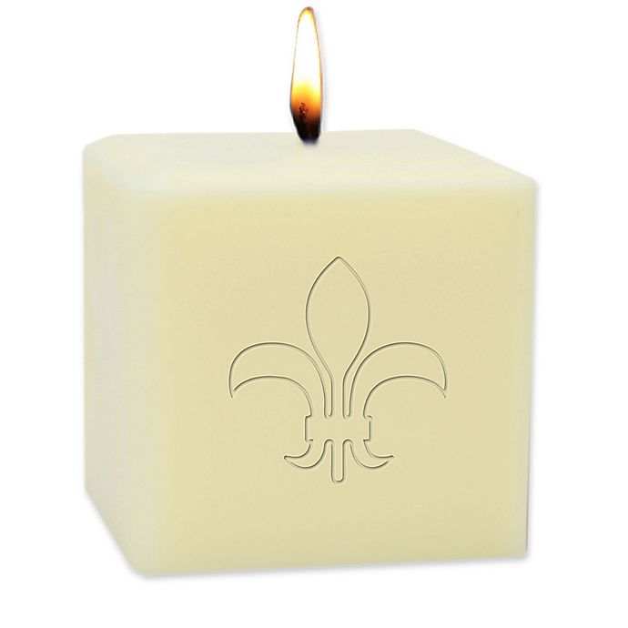 Alternate image 1 for Carved Solutions Eco-Luxury 4-Inch Soy Wax Fleur de Lis Pillar Candle in Ivory