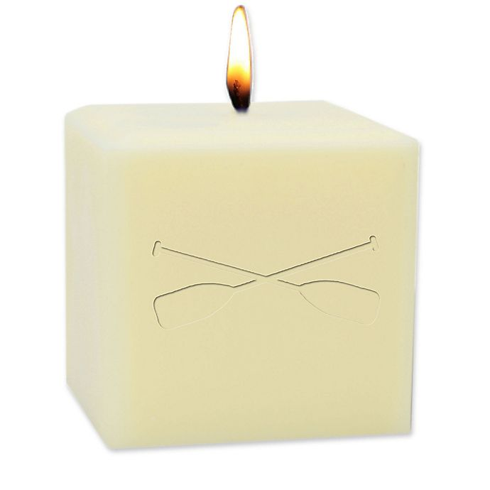 Alternate image 1 for Carved Solutions Eco-Luxury Unscented 4-Inch Soy Wax Oars Pillar Candle in Ivory