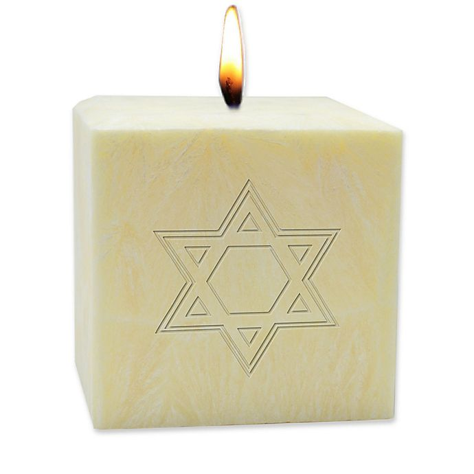 Alternate image 1 for Carved Solutions Eco-Luxury Star of David Citrus Escape 3-Inch Pillar Candle