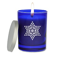 Carved Solutions Gem Collection Star of David Glass Jar Candle in Sapphire