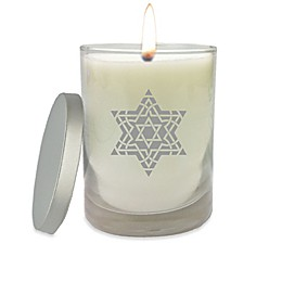 Carved Solutions Gem Collection Star of David Fancy Glass Jar Candle in White