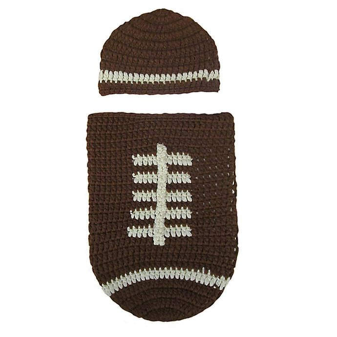 Alternate image 1 for So 'dorable Crochet 2-Piece Football Hat and Cocoon Set in Brown
