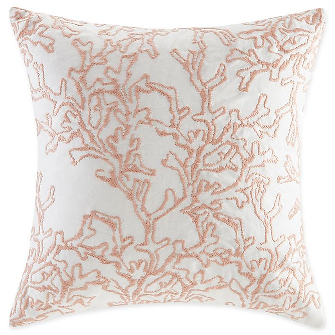 Alternate image 1 for Harbor House 18-Inch x 18-Inch Seaside Coral Throw Pillow in Coral/White