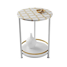 Two Tier Gold Frette Round Table