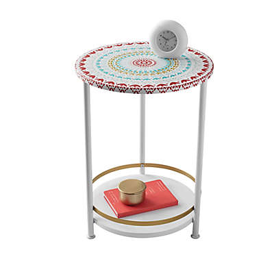 Two Tier Medallion Round Table in Red