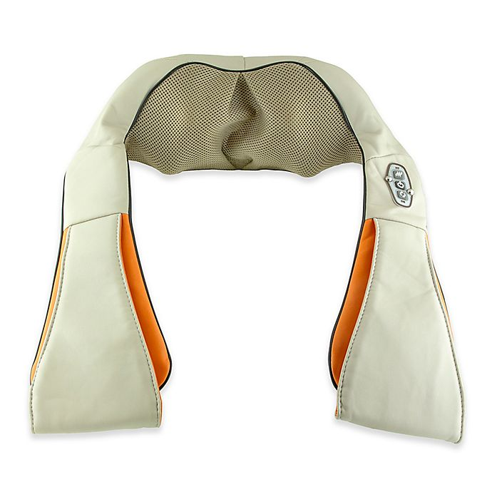 Alternate image 1 for Aurora Health and Beauty Neck and Back  Shiatsu Massager with Heat in Tan/Orange