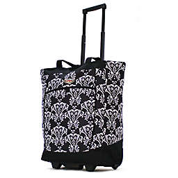 Olympia® USA Fashionista 20-Inch Rolling Shopping Tote in Damask Black