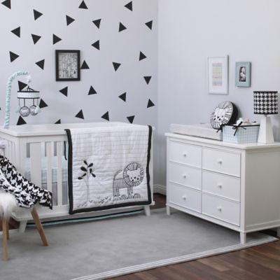 Nojo 174 Roar 4 Piece Crib Bedding Set In Black White