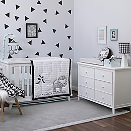 NoJo® Roar 4-Piece Crib Bedding Set in Black/White