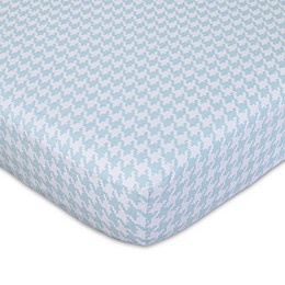 NoJo® Roar Houndstooth Fitted Crib Sheet in White/Aqua