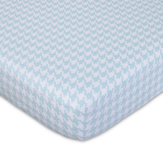 Alternate image 1 for NoJo® Roar Houndstooth Fitted Crib Sheet in White/Aqua