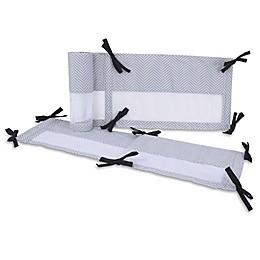 NoJo® Roar 4-Piece Chevron Crib Bumper Set in Grey/White