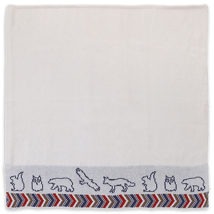 Alternate image 1 for NoJo® Teepee Animal Embroidered Jacquard Knit Blanket in Navy/Red