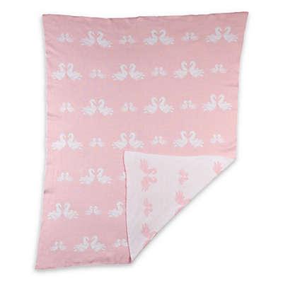 Living Textiles Sketchbook Swan Parade Knit Blanket in White