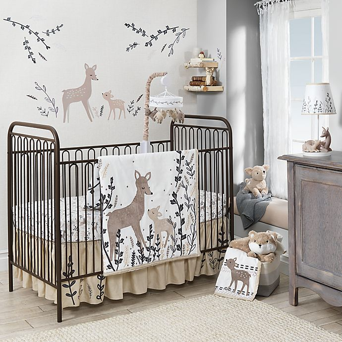 Alternate image 1 for Lambs & Ivy® Meadow Deer Crib Bedding Collection in Tan/White