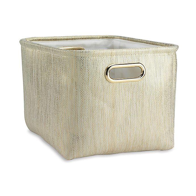 Alternate image 1 for Lambs & Ivy® Metallic Storage Basket in Gold