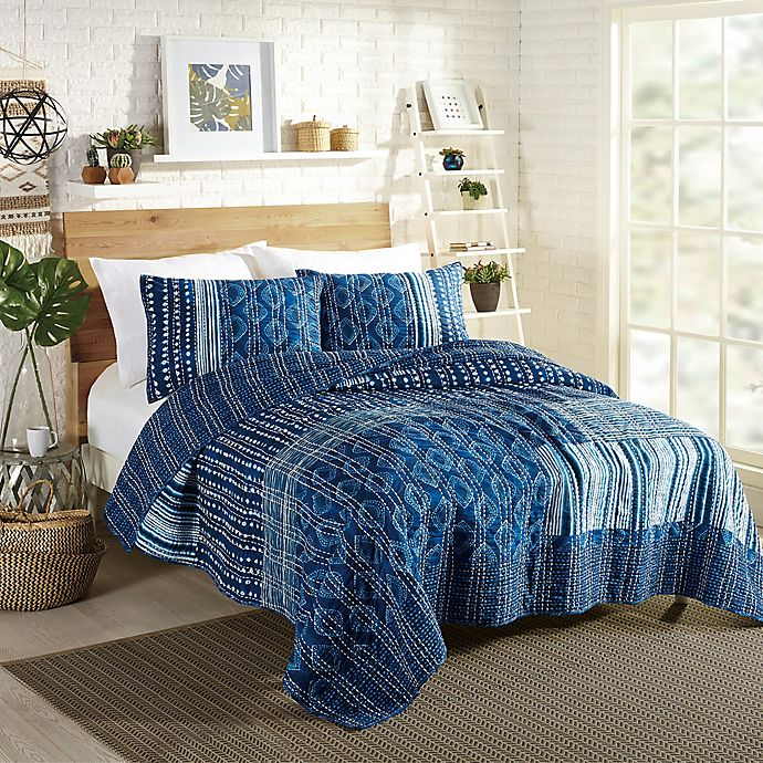 Alternate image 1 for Justina Blakeney by Makers Collective  Avisa Full/Queen Quilt Set in Blue